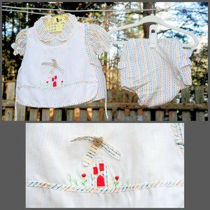 VTG 60s Baby Girl 6/9 9/12 Month Rainbow Dress Set